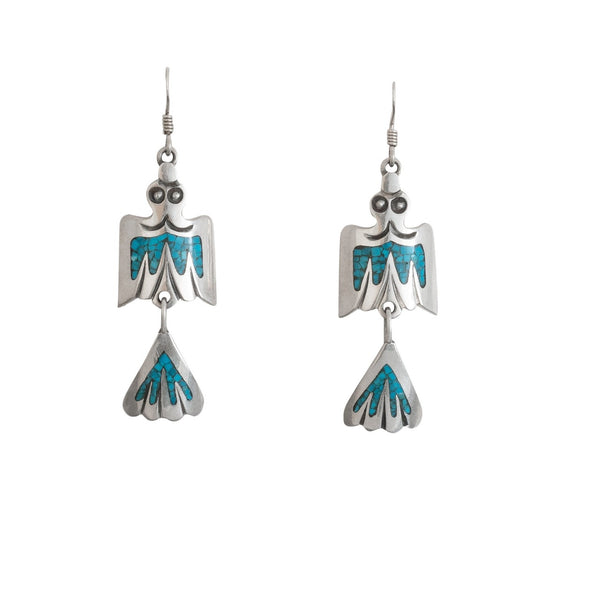 Navajo Water Bird Dangle Earrings With Chip Inlay Turquoise