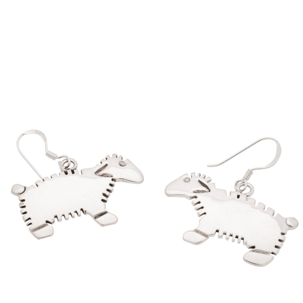 Navajo Silver Sheep Earrings By Allison Manuelito