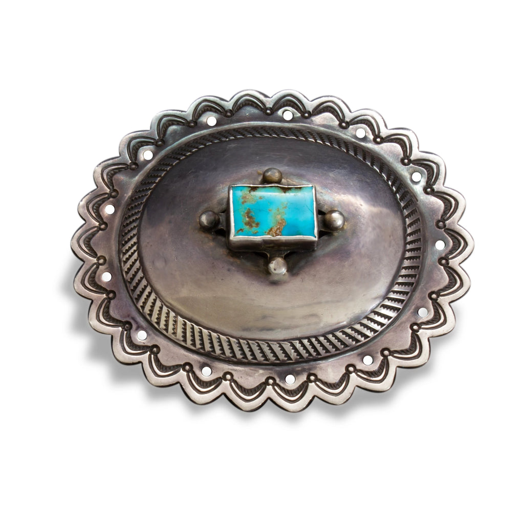 Old Pawn Navajo Silver Concho Buckle With Turquoise Circa 1940's