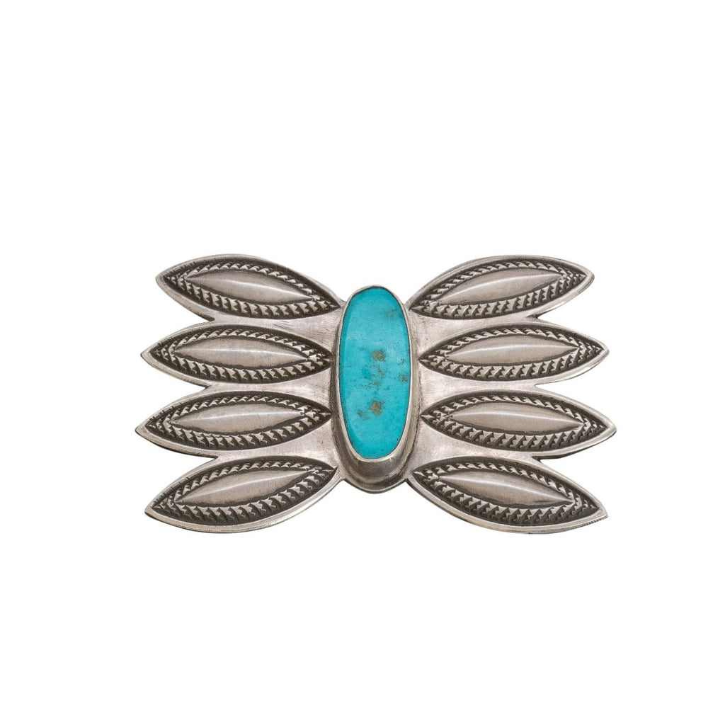 Perry Shorty Brooch With Natural Blue Gem Turquoise