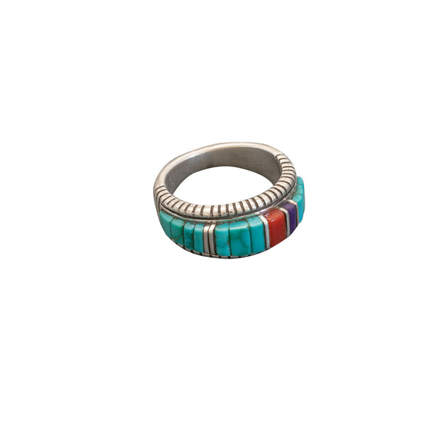 Turquoise Inlay Ring by Phil and Fannie Bitsoi-Russell