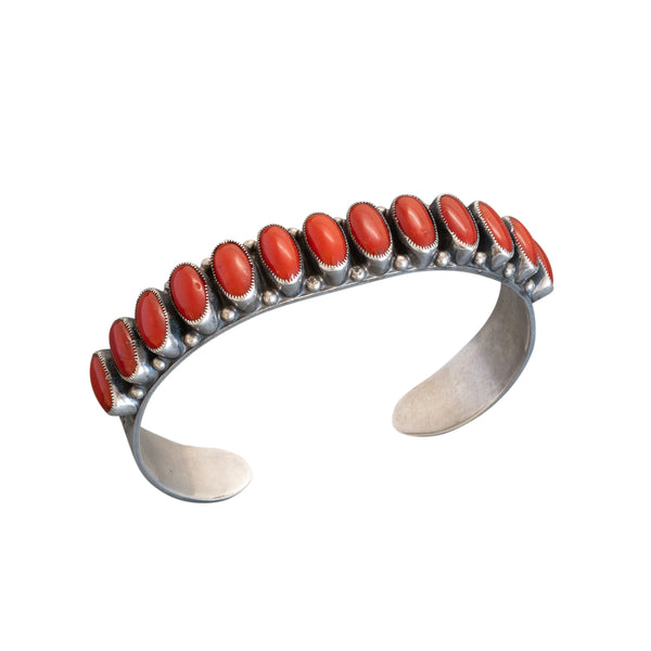 Vintage Leo Feeney Row Bracelet of Fine Natural Red Mediterranean Coral