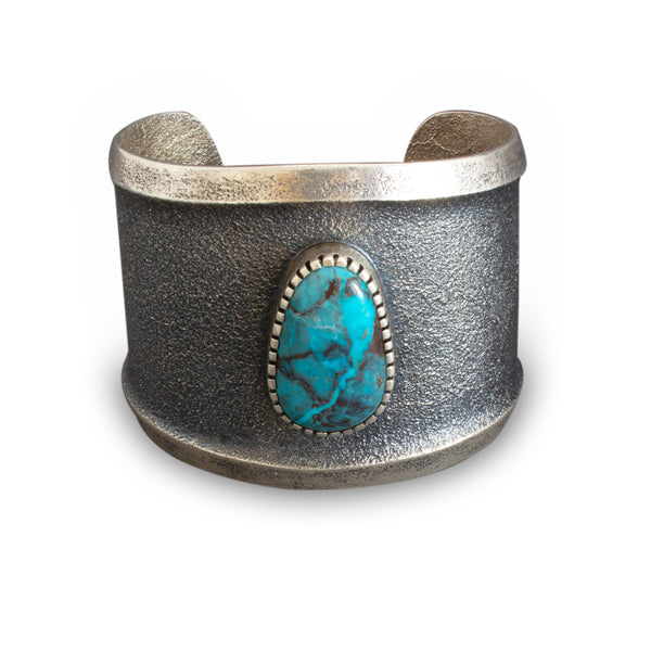 Ric Charlie Wide Silver Cuff With Center Turquoise