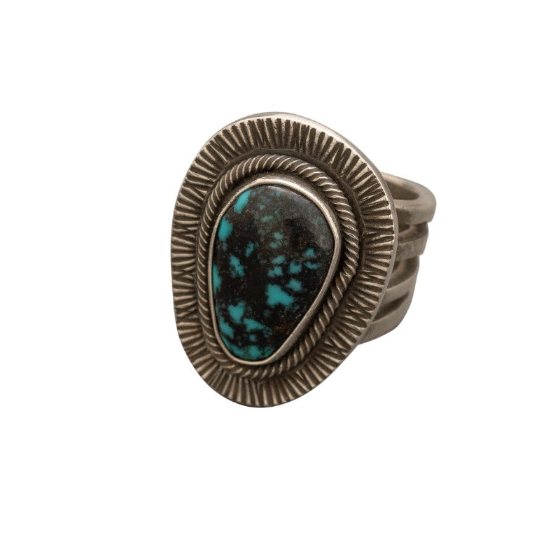 Tommy Jackson Ring of Natural Apache Blue Turquoise.