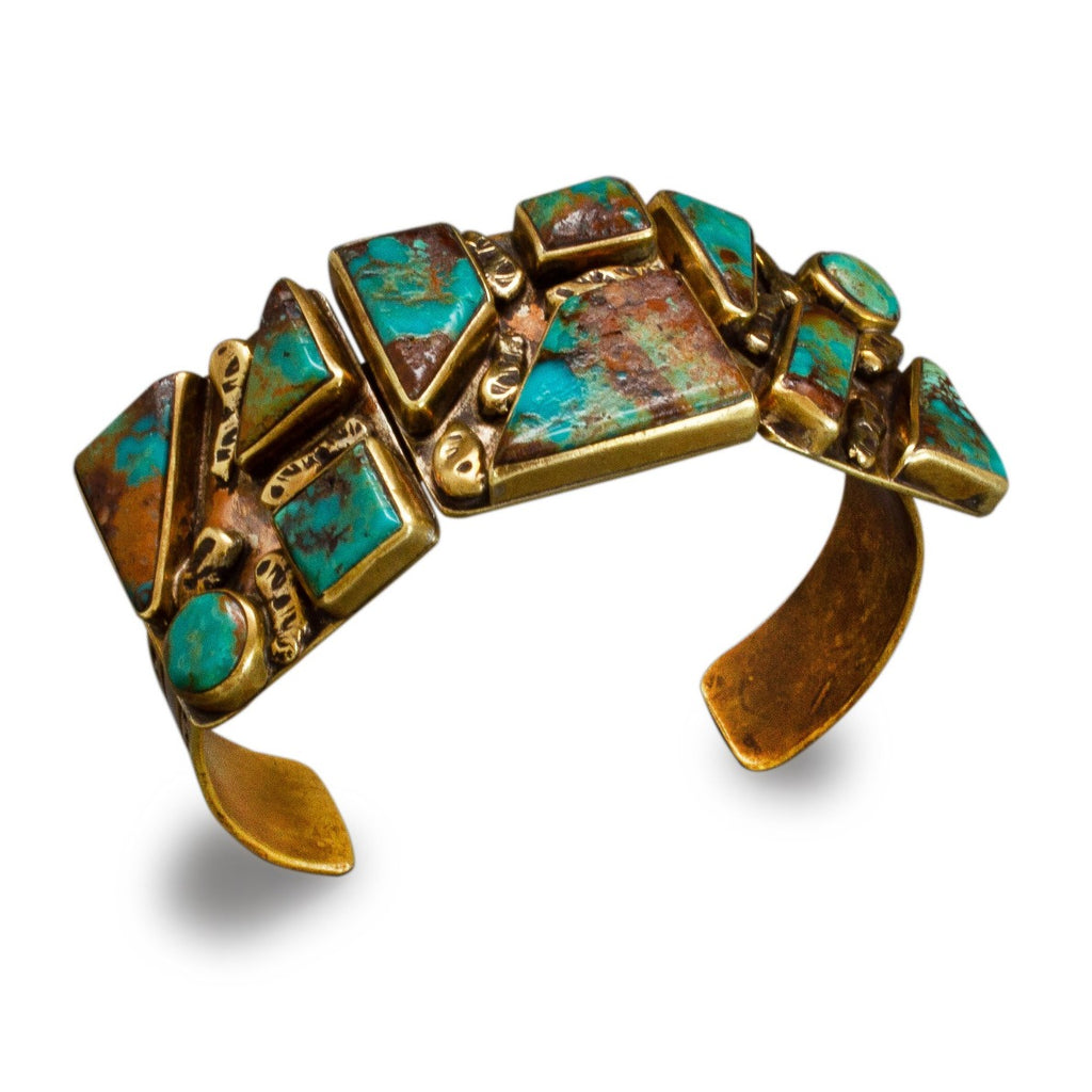 Tony Aguilar Bracelet of Brass and Turquoise