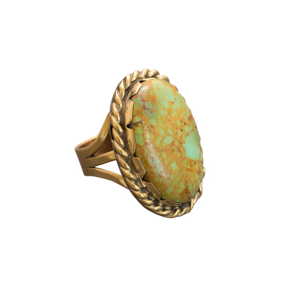 Tony Aguilar Sr. Statement Ring of Turquoise and Brass
