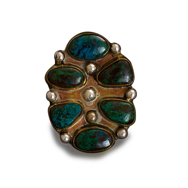 Large Vintage Pueblo Ring of Turquoise By Tony Aguilar Sr.