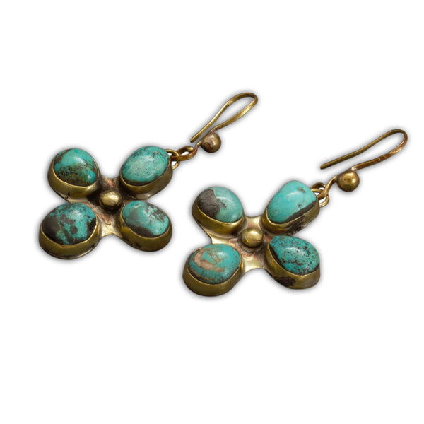 Vintage Pueblo Cross Earrings of Turquoise And Brass By Tony Aguilar Sr.