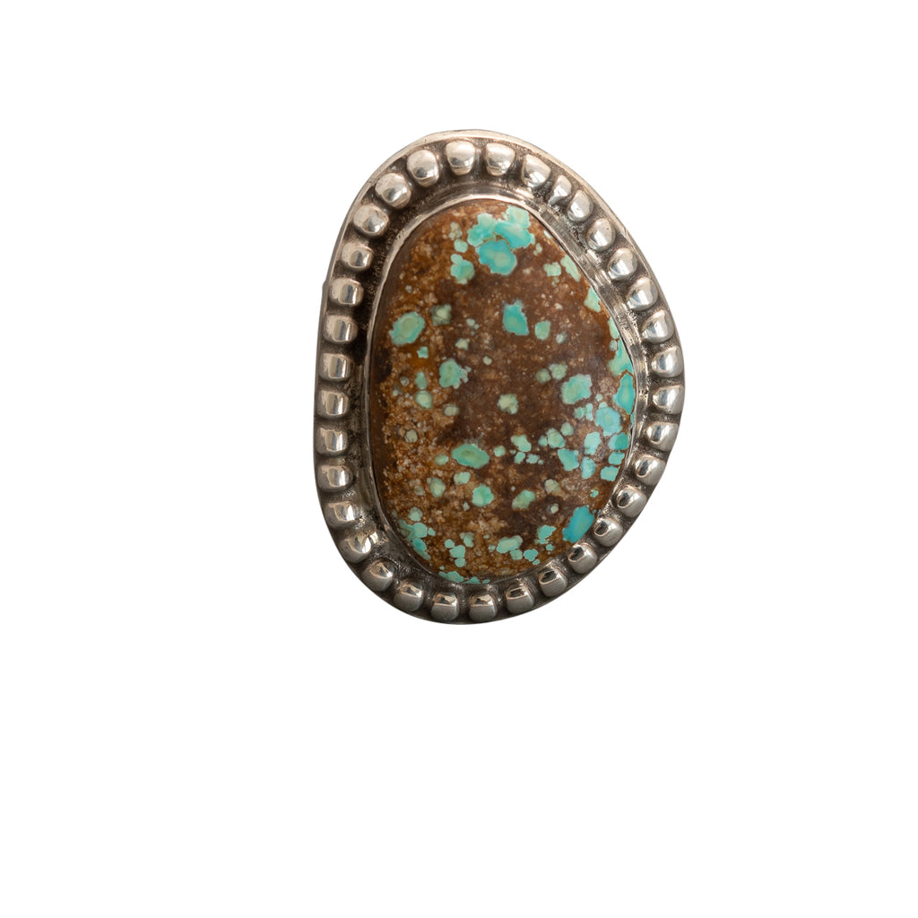 Large Turquoise Ring By Wayne Aguilar of Santo Domingo Pueblo