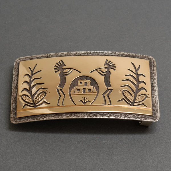 Victor Coochwytewa Belt Buckle of 14kt Gold Overlay With Flute Players