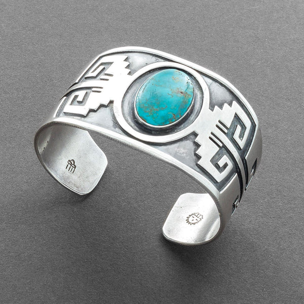 Victor Coochwytewa Wide Hopi Silver Bracelet Set With Blue Gem Turquoise