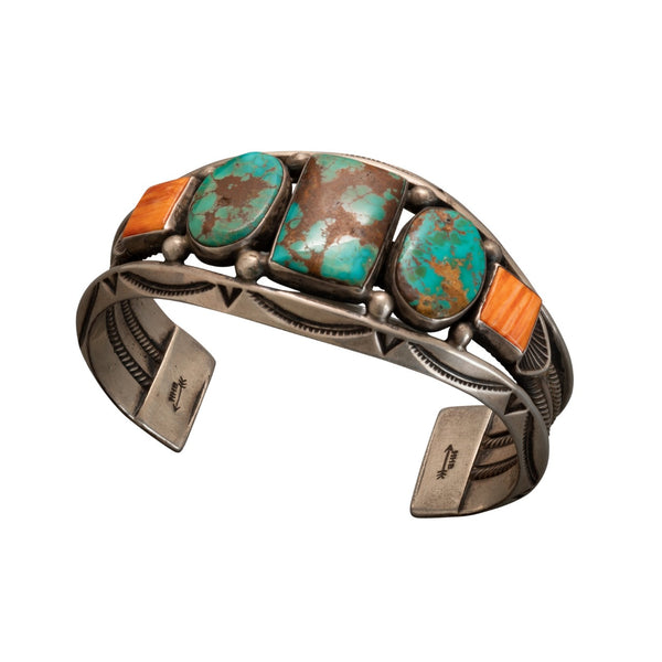 Vintage Harry H. Begay Cuff of Turquoise and Orange Spiny Oyster