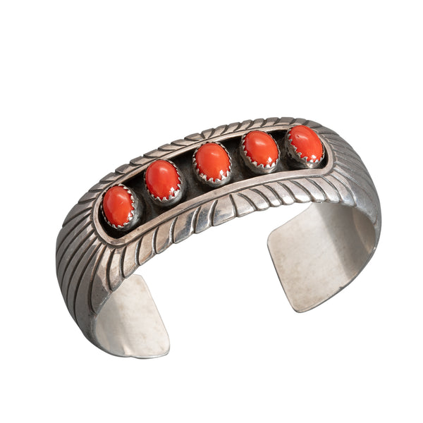 Vintage Navajo Bracelet With Natural Red Coral