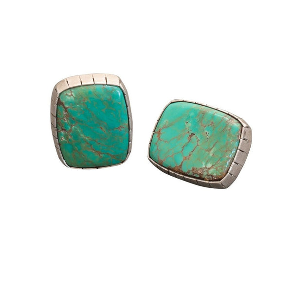 Vintage Navajo Clip Earrings of Turquoise by Frank Guerro