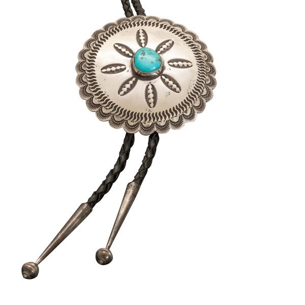 Vintage Navajo Turquoise Bolo By Ben Yellowhorse