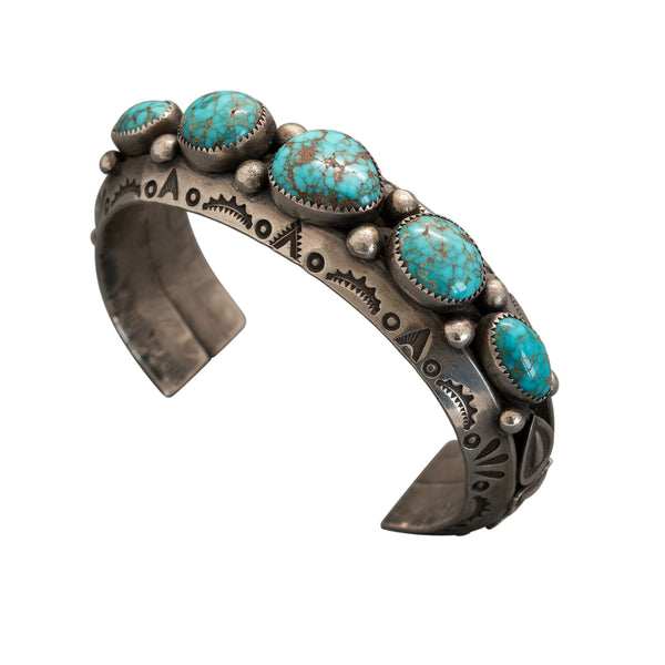Vintage Navajo Row Bracelet With Fine Natural Turquoise