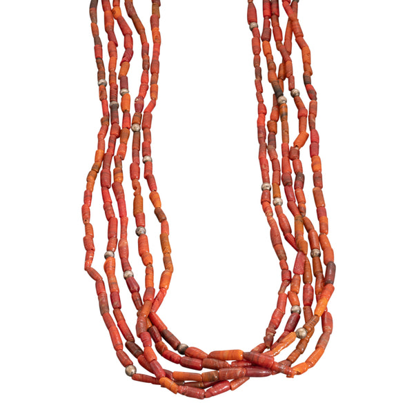 Vintage Pueblo Five Strand Coral Necklace With Silver Beads