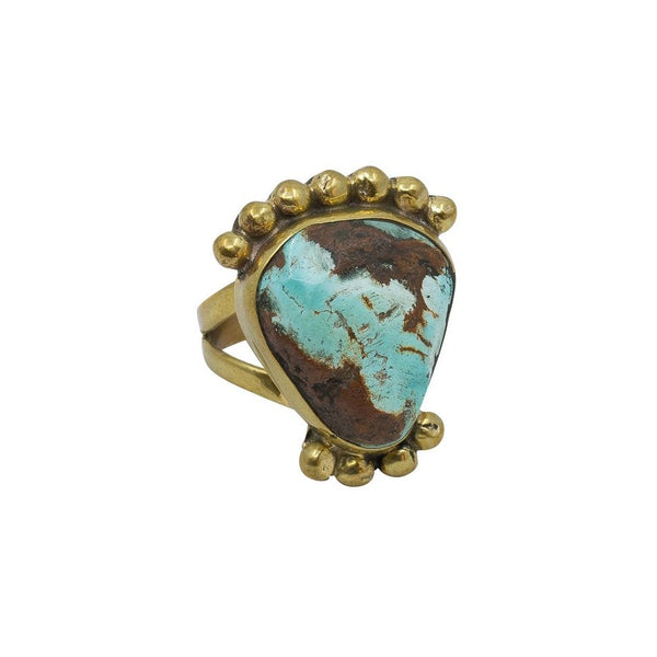 Vintage Ring by Tony Aguilar Senior of Brass and Turquoise