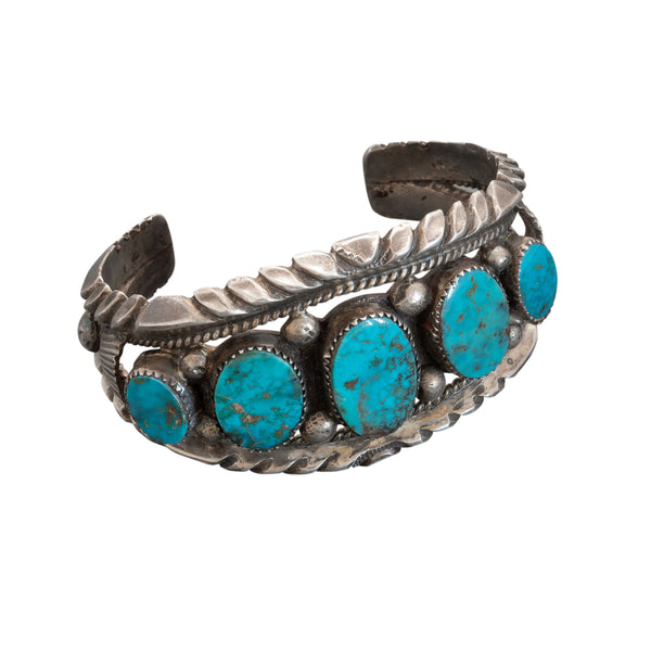 Vintage Navajo Row Bracelet of Natural Turquoise
