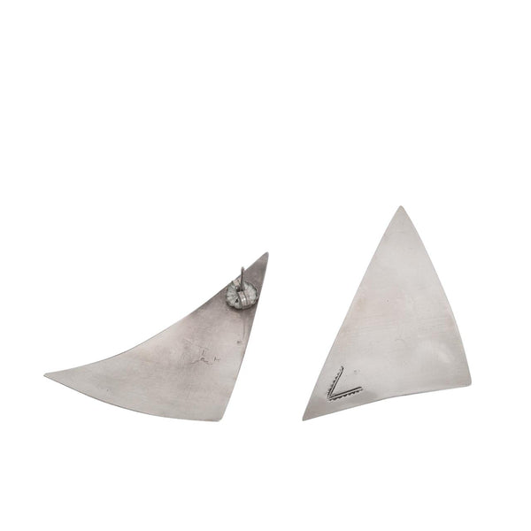 Vintage Sterling Silver Modernist Pueblo Earrings of Elongated Triangles
