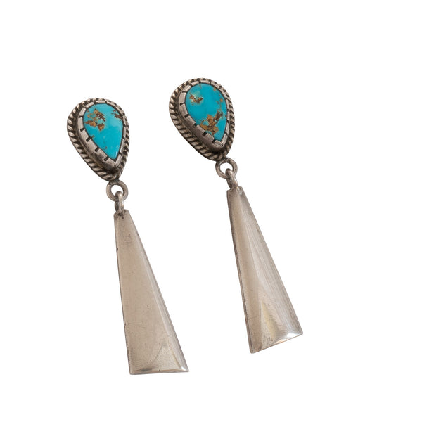 Vintage Turquoise Dangle Earrings by Mitchell Calabaza