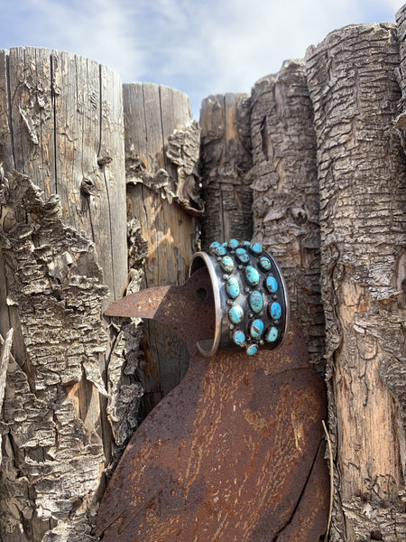 Vintage Wide Turquoise Cuff Of Multiple Stones in Sterling Silver