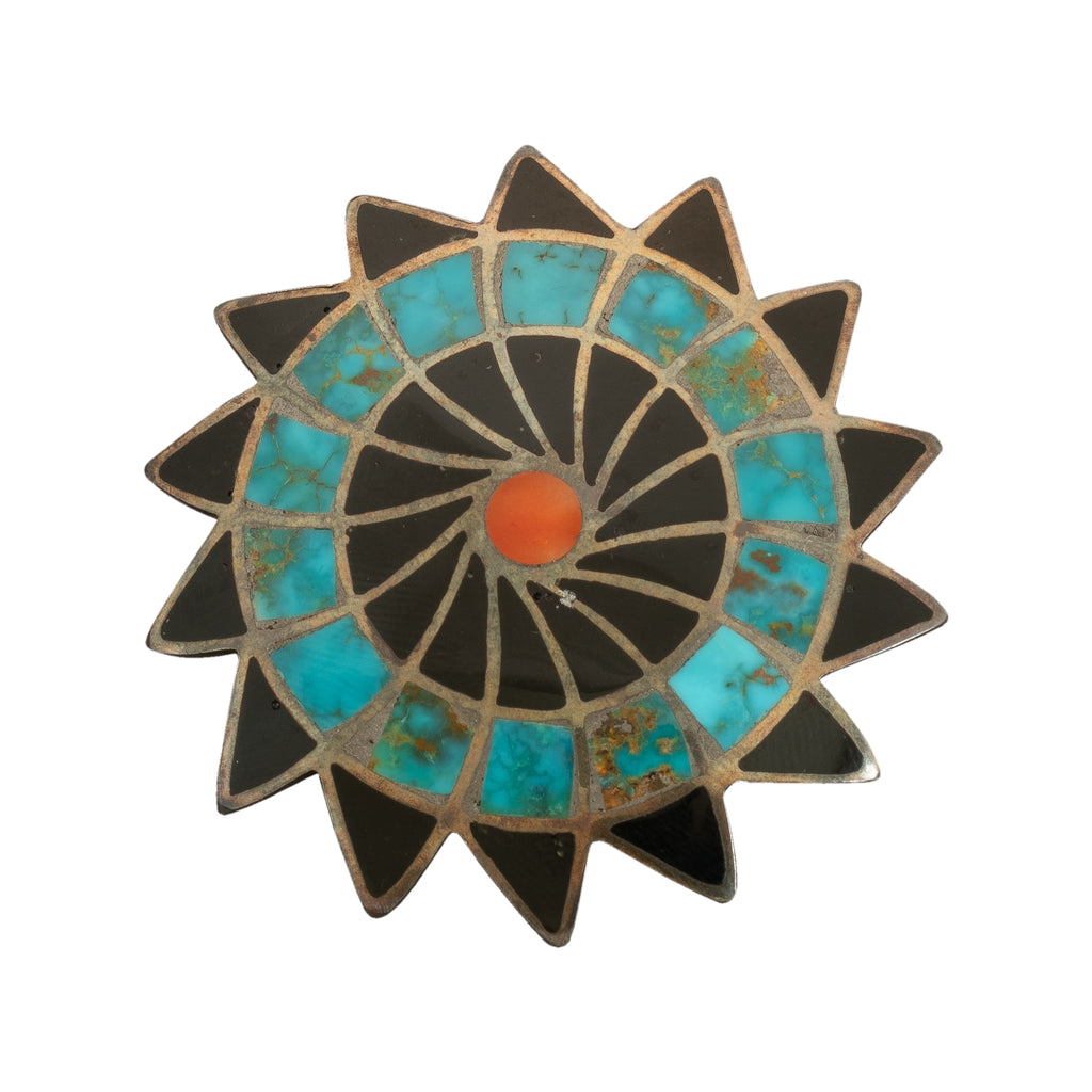 Vintage Zuni Star Brooch of Channel Inlay Turquoise Coral and Jet