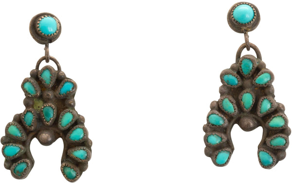 Vintage Zuni Dangle Earrings of Turquoise Petit Point Najas