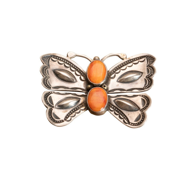 Vintage Harry H. Begay Butterfly Brooch of Spiny Oyster