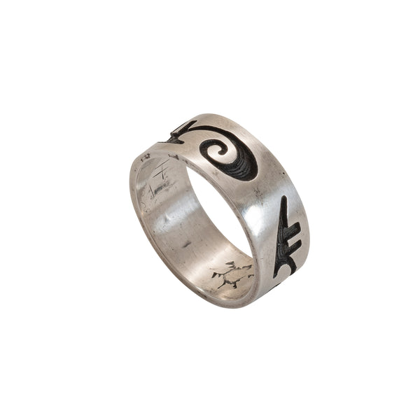 Vintage Hopi Ring of Silver Overlay By Mitchell Sockyma