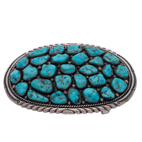 Vintage Navajo Belt Buckle With Turquoise Nuggets by Wilford Nez