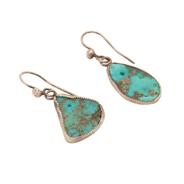 Vintage Pueblo Dangle Earrings of Natural Drilled Turquoise Tabs