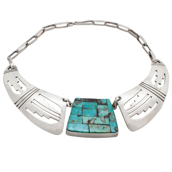 Vintage Hopi Victor Coochwytewa Necklace Of Silver And Turquoise