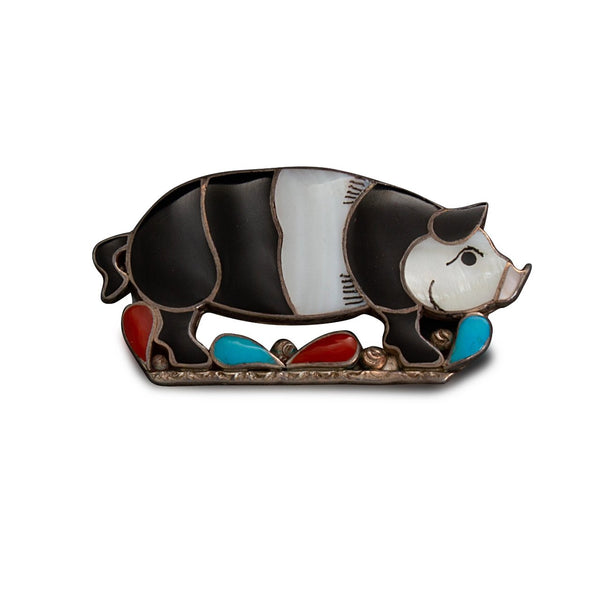 Vintage Porfilio Sheyka Pig Pin of Channel Set Inlay