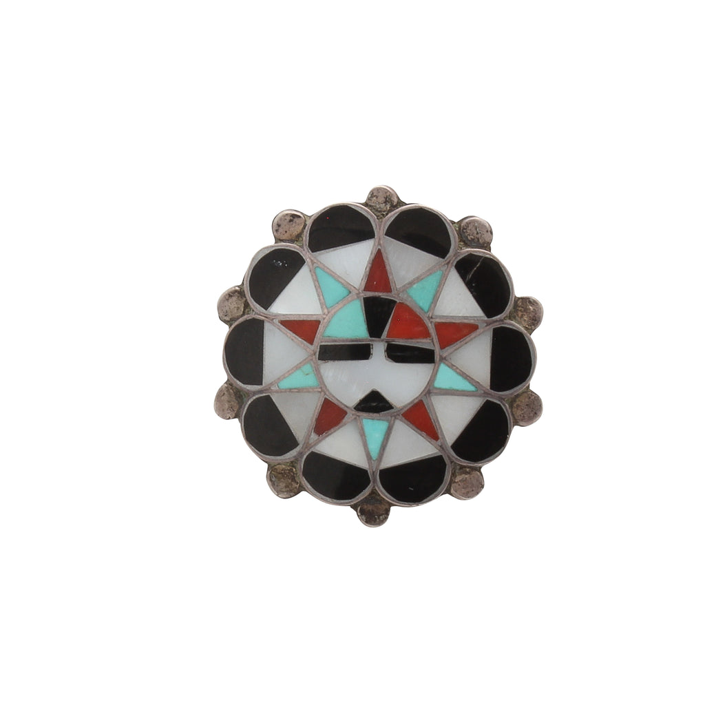 Vintage Zuni Sunface Ring of Inlay Stones