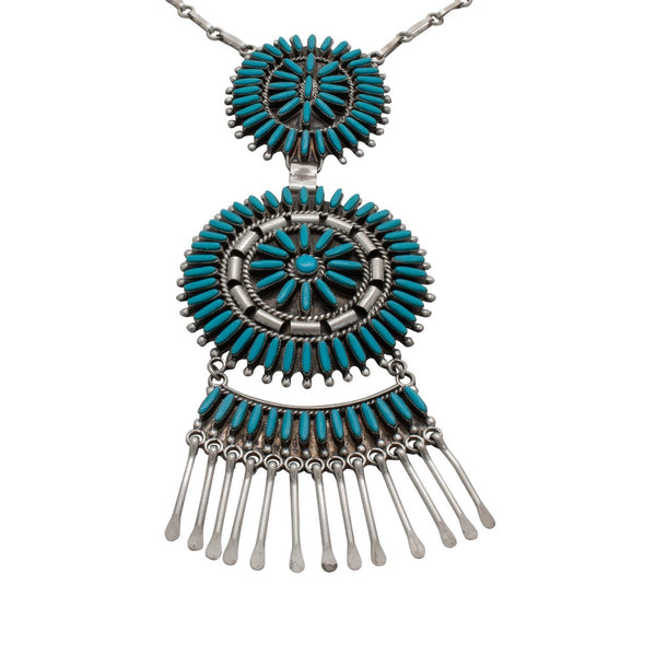 Vintage Zuni Necklace of Turquoise Petit Point Inlay and Silver