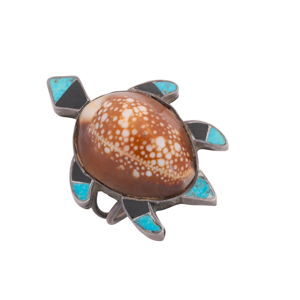 Vintage Zuni Sea Turtle Ring With Inlay Turquoise, Jet and Shell