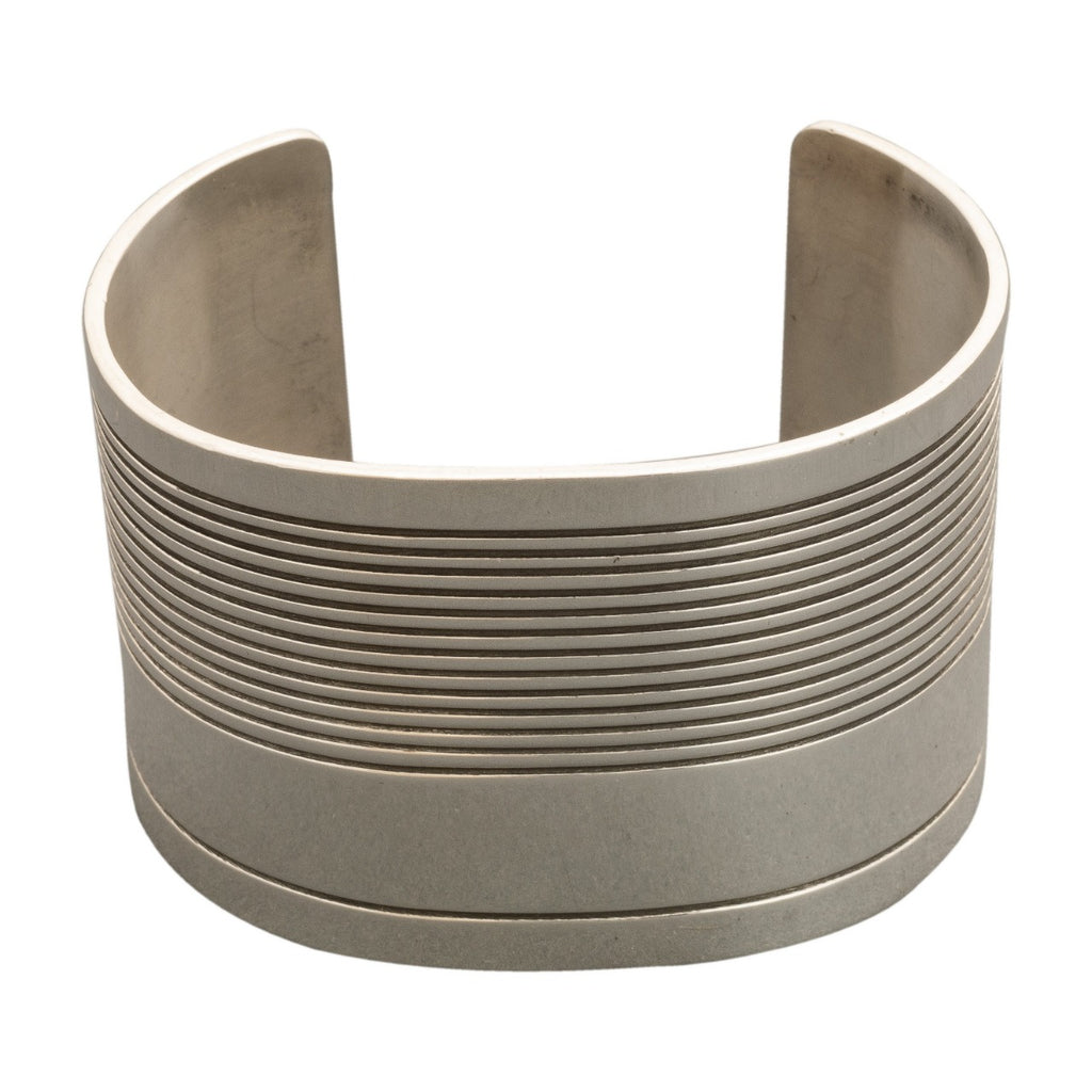 Wide Silver Cuff by Gail Bird and Yazzie Johnson