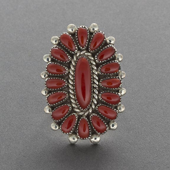 Vintage Zuni Cluster Coral Ring By Lorraine Waatsa Daughter of Alice Quam