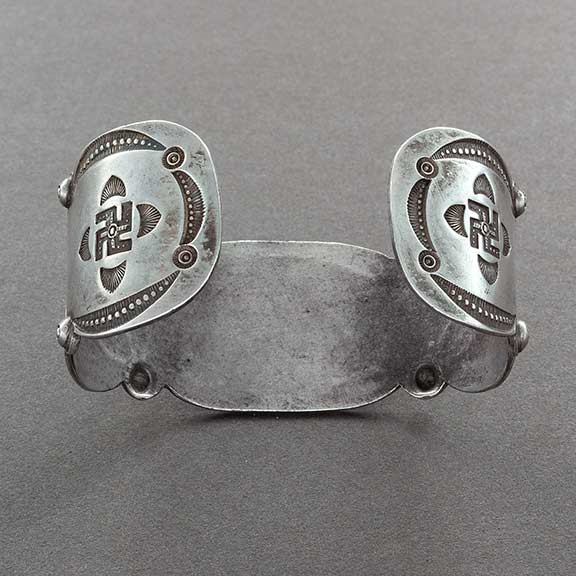 Early Navajo Ingot Silver Cuff Bracelet of Silver and Turquoise Whirling Logs