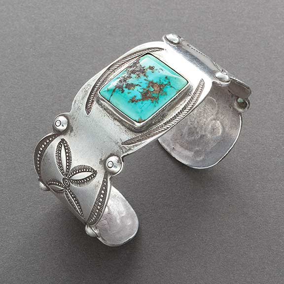 Early Navajo Ingot Silver Cuff Bracelet of Silver and Turquoise