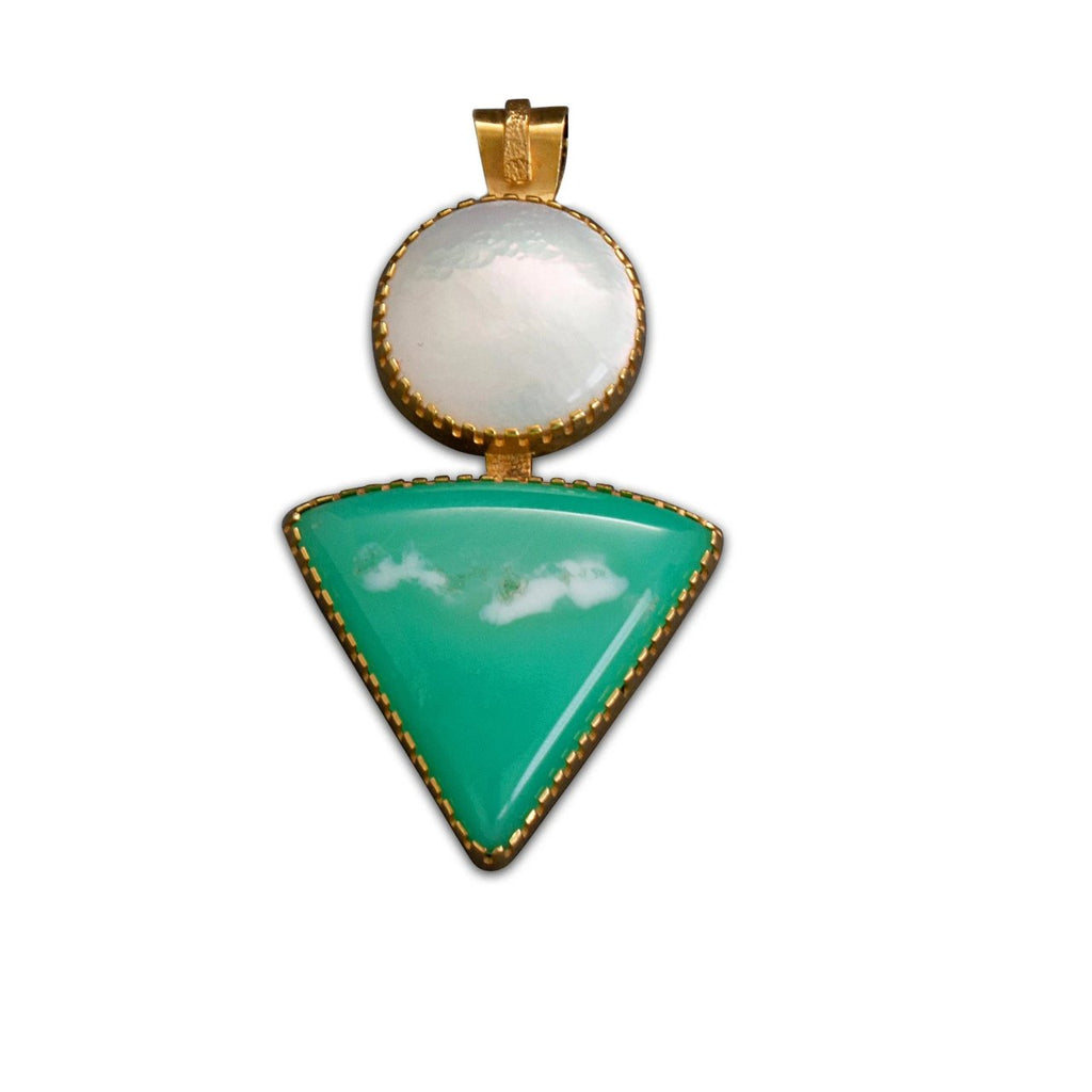 Gail Bird and Yazzie Johnson Pendant of 18kt Gold With Blister Pearl & Chrysocolla