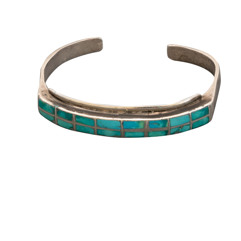 Vintage Zuni Bracelet of Turquoise Channel Inlay