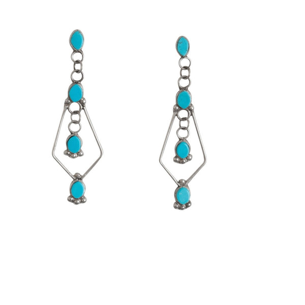Zuni Turquoise Dangle Earrings