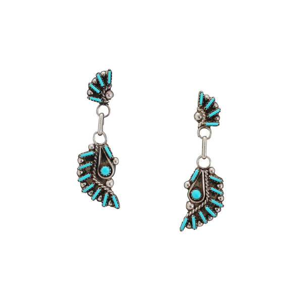 Zuni Dangle Earrings of Needlepoint Turquoise Inlay
