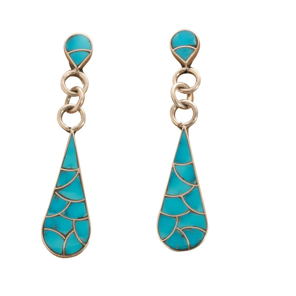 Elongated Zuni Dangle Earrings of Turquoise Fish Scale Inlay in Sterling Silver