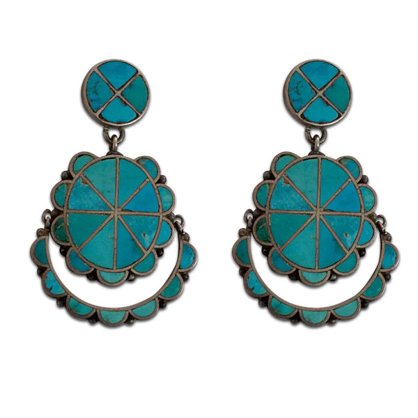 Historic Zuni Turquoise Channel Inlay Dangle Earrings