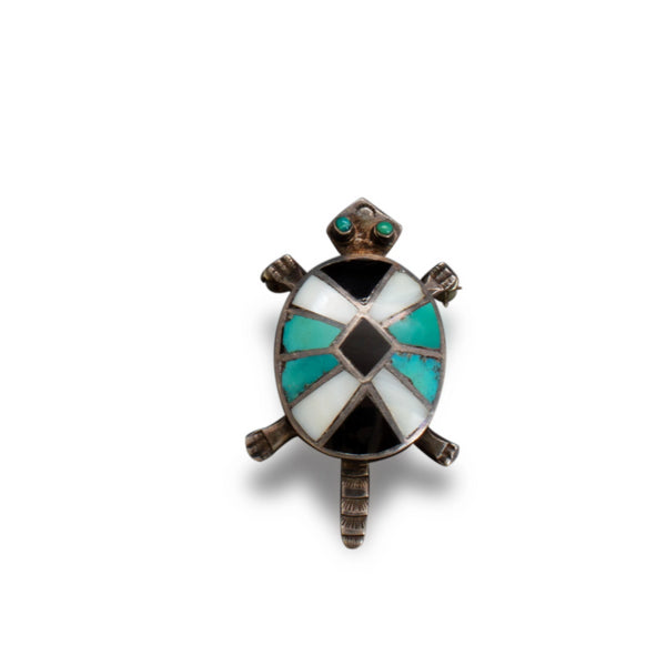Zuni Channel Inlay Turtle Brooch of Turquoise Jet and Silver