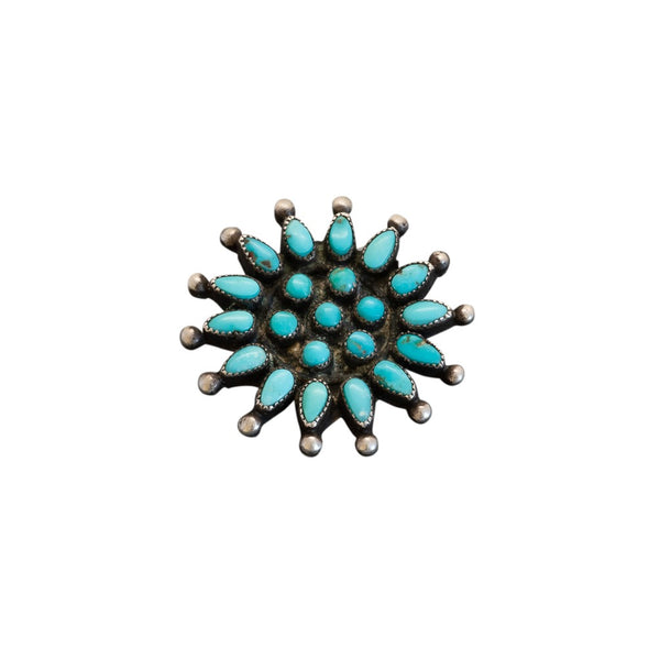 Vintage Zuni Turquoise Cluster Pin