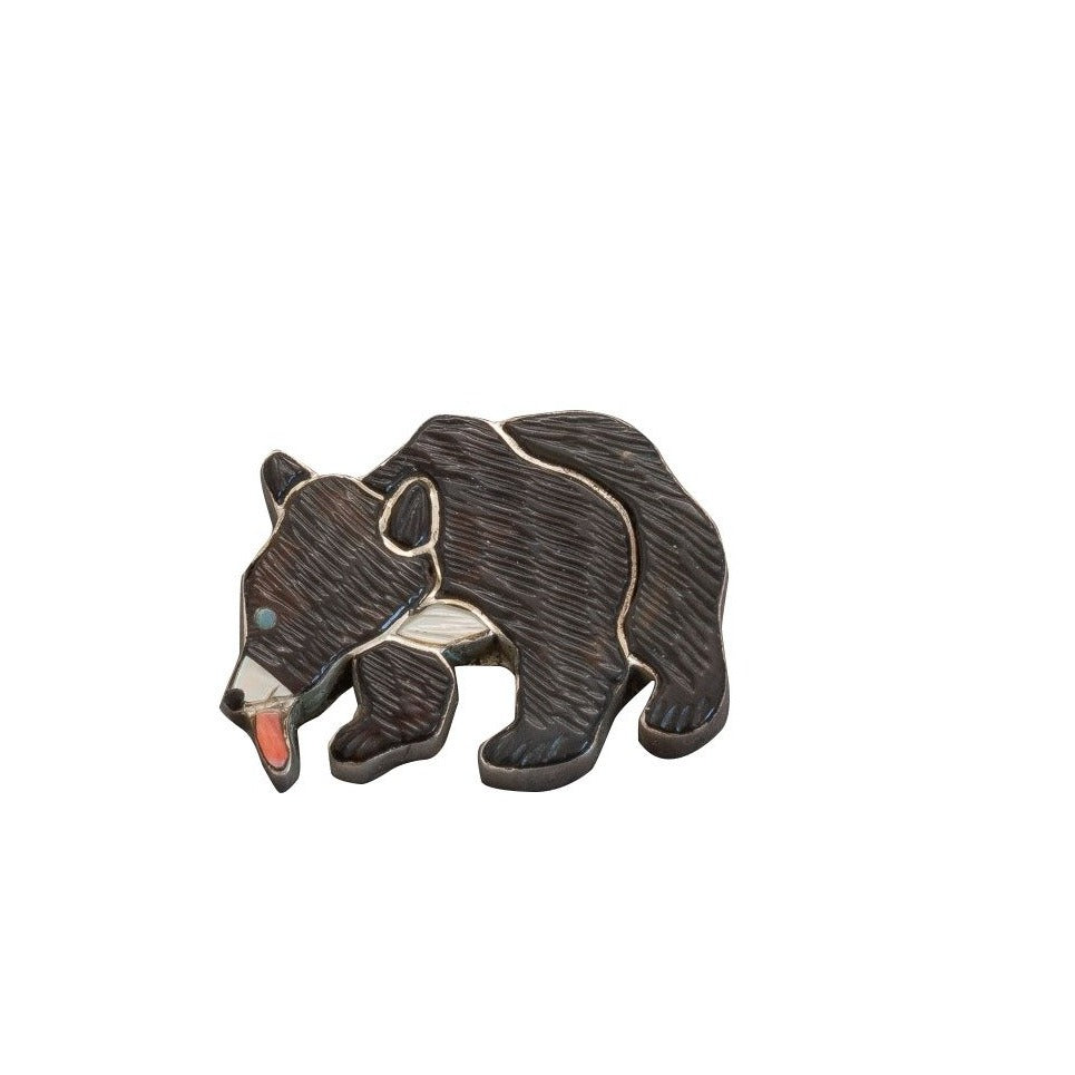 Baby Bear Pendant and Pin of Inlay By Virgil and Shirley Benn